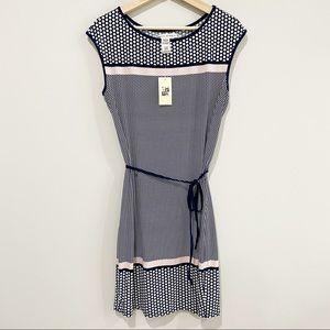 MAX STUDIO Navy Blue & Pink Dot Sleeveless Dress
